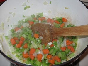 Softening the onions, celery, and carrots