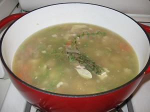 Turkey soup with herbs