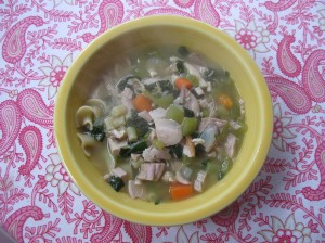 Finished turkey noodle soup