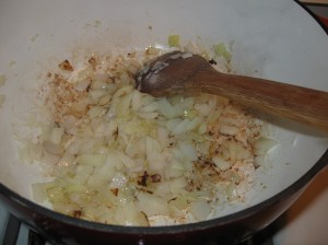 Saute the onions and garlic